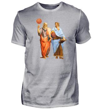 Platon und Aristoteles mit Basketbällen