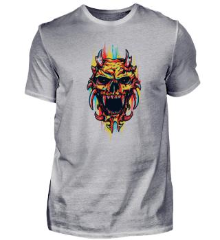 Coloured Death Monster Skull Handpainted