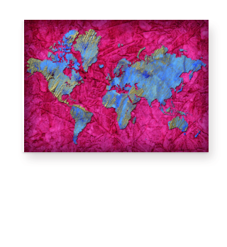 Weltkarte   Poster   rot-blau-gold