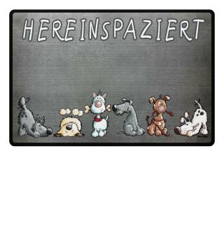 Drollige Hereinspaziert Hunde Fußmatte